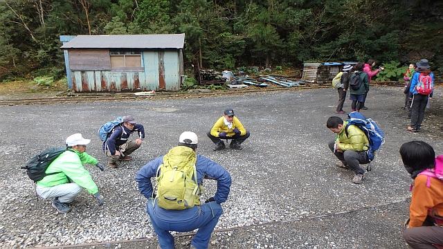 荒川登山口にて出発前の準備運動
